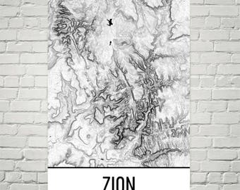 Zion map | Etsy