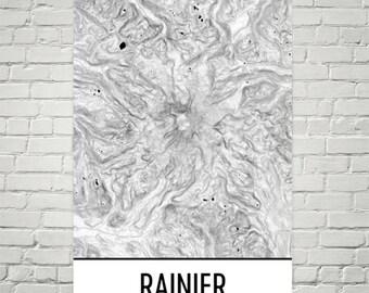 Mt Rainier Topographic Map.Mount Rainier Map Etsy
