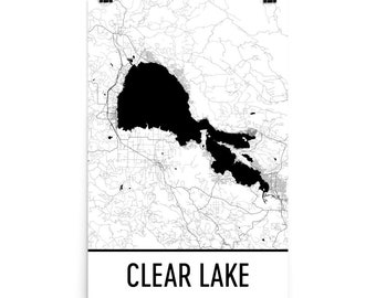 Clear lake ca map | Etsy on