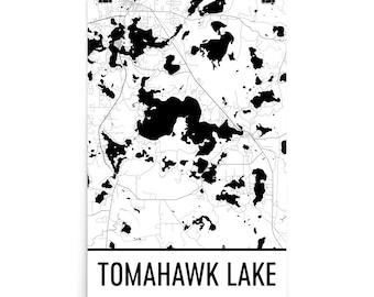 Tomahawk Wisconsin Map.Tomahawk Wisconsin Etsy