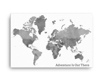 Canvas World Map Etsy - Grey world map canvas
