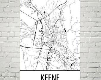 Keene Nh Map Etsy