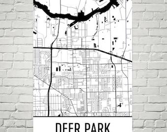Deer park texas | Etsy Deer Park Texas Map on