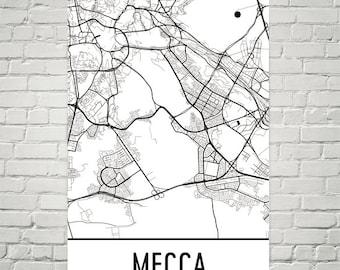 Mecca map art | Etsy