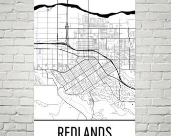 Map Print Redlands Etsy