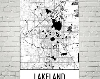 Lakeland Florida Map.Lakeland Florida Map Etsy