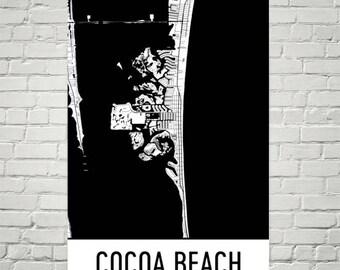 Cocoa Beach Florida Map.Cocoa Beach Map Art Etsy