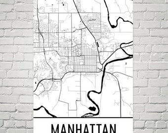 Map Of Manhattan Kansas.Manhattan Ks Etsy
