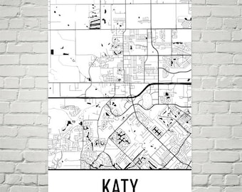 Map Of Texas Katy.Katy Tx Map Etsy