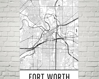 Fort worth tx map | Etsy