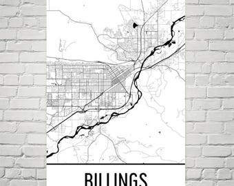 Billings mt map | Etsy