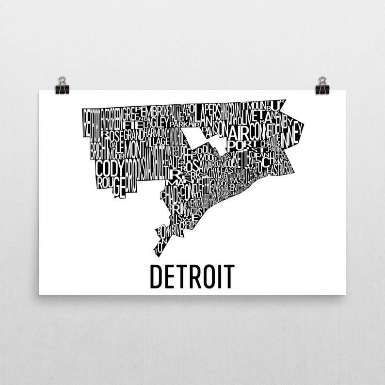 Detroit Typography Neighborhood Map Art City Print Detroit | Etsy on