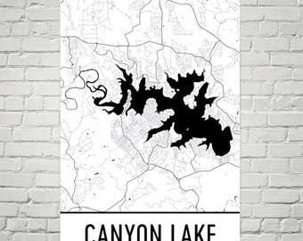 Canyon Lake Texas, Canyon Lake TX, Canyon Lake Map, Texas Map, Texas Lakes, Canyon Lake Art, Texas Art, Texas Fishing, Texas Cottage Decor