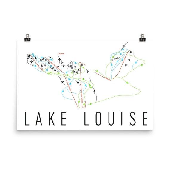 Lake Louise Ski Map Art Lake Louise Alberta Banff Canada | Etsy