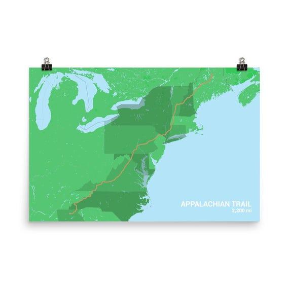 Appalachian Trail Map Appalachian Trail Poster Appalachian | Etsy