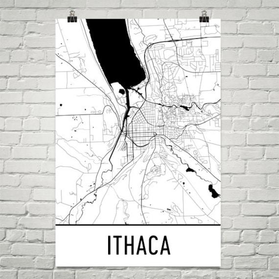 Ithaca NY Map Ithaca Art Ithaca Print Ithaca NY Poster | Etsy