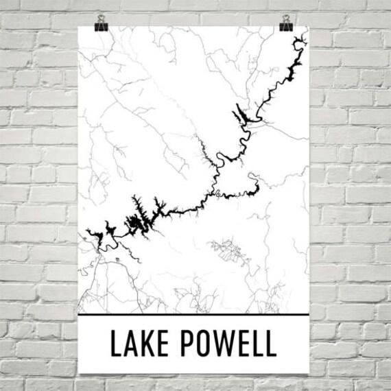 Lake Powell Arizona Lake Powell Utah Arizona Map Utah   Etsy