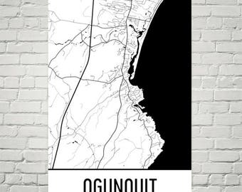 Ogunquit Maine, Ogunquit ME, Ogunquit Map, Maine Map, Maine Gift, Ogunquit Art, Maine Art, Maine Decor, Ogunquit Print, Ogunquit Art Poster