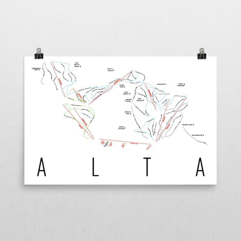 Alta Ski Map Art Alta Utah Ski Utah Alta Trail Map Alta   Etsy Utah Ski Maps on