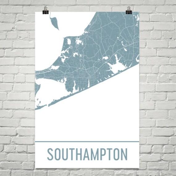Hamptons New York Map.Southampton Map Southampton Art Hamptons Print Southampton Etsy