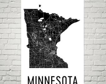 Minnesota Gifts, Minnesota Art, Minnesota Map, Minnesota Print, Minnesota Wall Art, Minnesota Sign, Decor, Poster, Map of Minnesota, Home