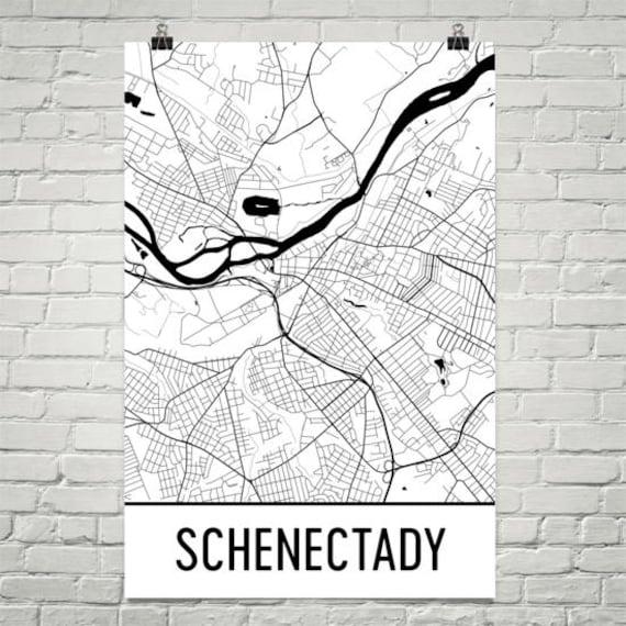 Schenectady New York Map.Schenectady Map Schenectady Art Schenectady Print Etsy