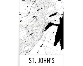 St. John's Map, St. John's Art, St. John's Print, St. John's New Brunswick Poster, St. John's Wall Art, Map of St. John's, St. John's Poster