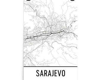 Sarajevo Map, Sarajevo Art, Sarajevo Print, Sarajevo Bosnia Poster, Sarajevo Wall Art, Map of Sarajevo, Sarajevo Gift, Sarajevo Decor, Map