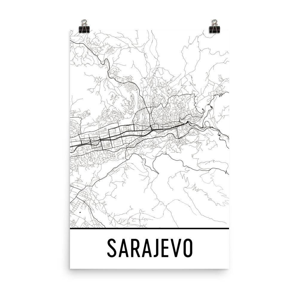 Sarajevo Karte Sarajevo Kunst Sarajevo Druck Sarajevo | Etsy