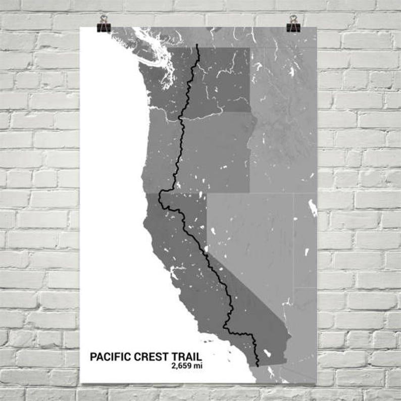 Pacific Crest Trail Map Pacific Crest Trail Art Print   Etsy