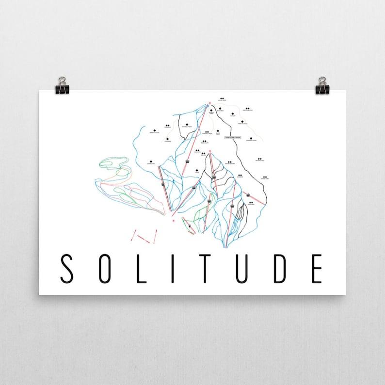 Solitude Utah Map.Solitude Ski Map Art Solitude Utah Solitude Trail Map Utah Etsy