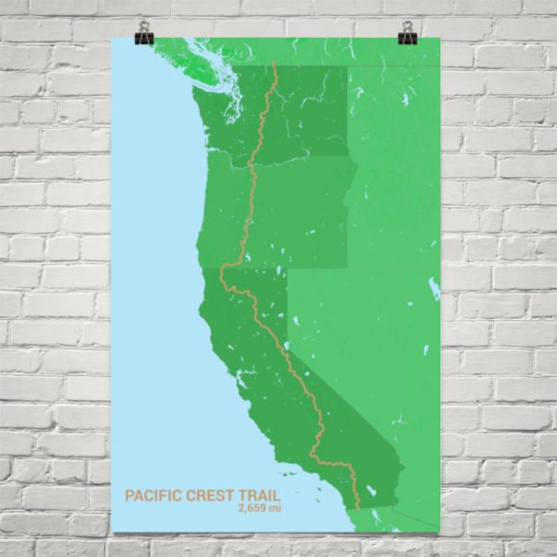 Pacific Crest Trail Map, Pacific Crest Trail Art Print, National Scenic  Trail, Hiking Trail Map, PCT Map, PCT Art, PCT Print, Western Trail
