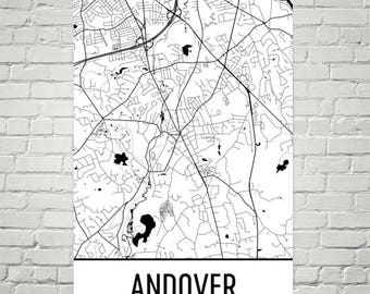 Andover Map, Andover Art, Andover Print, Andover MA Poster, Andover Wall Art, Andover Gift, Map of Massachusetts, Massachusetts Poster, Art