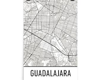 Guadalajara Map, Guadalajara Art, Guadalajara Print, Guadalajara Mexico Poster, Guadalajara Wall Art, Map of Guadalajara, Gift, Map Print