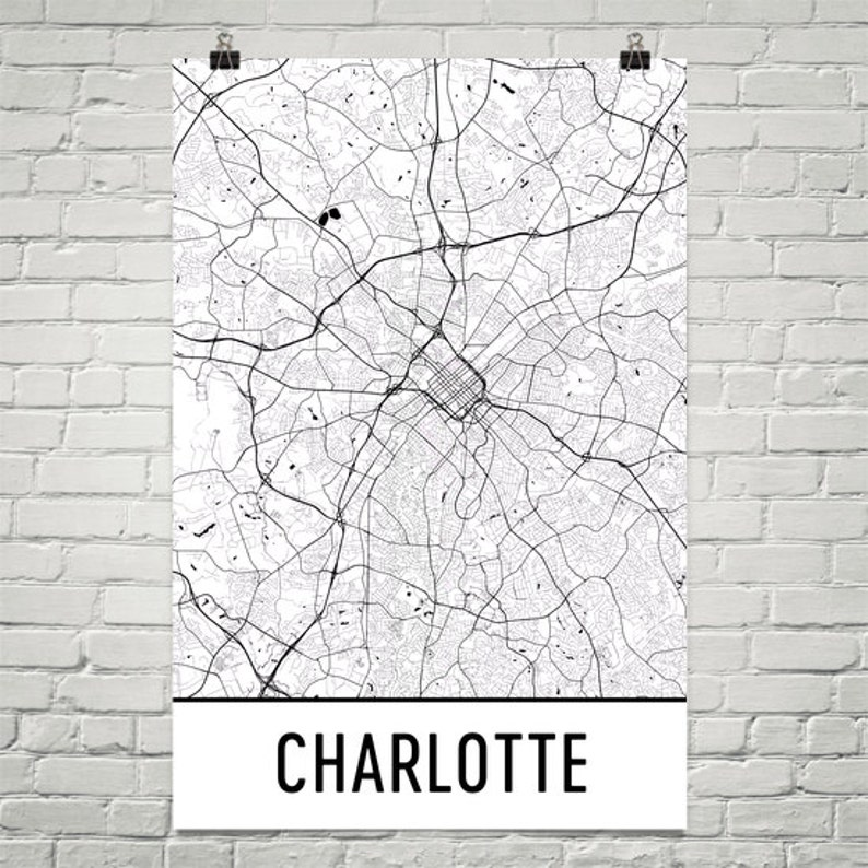 Charlotte NC Map Print Charlotte North Carolina Art | Etsy