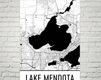 Lake Mendota Wisconsin, Lake Mendota WI, Wisconsin Map, Sailing Lake Mendota, Lake Map, Mendota Sail Boat Art, Art, Cottage Decor, Mendota