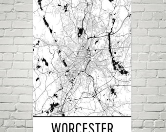 Worcester Map, Worcester Art, Worcester Print, Worcester MA Poster, Worcester Wall Art, Massachusetts Gifts, Map of Massachusetts, Decor