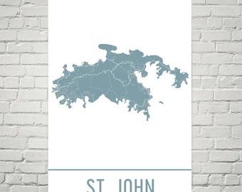 st john map st john art st john print st