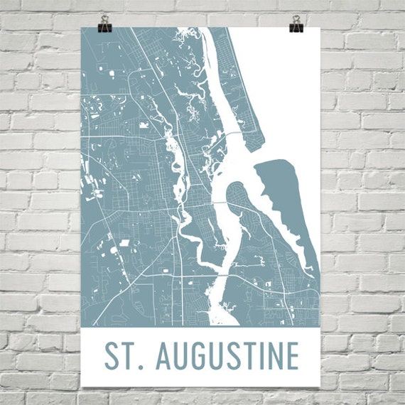 Map St Augustine Florida.St Augustine Map St Augustine Art St Augustine Print St Etsy