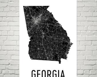 Georgia Map, Georgia Art, Georgia Print, Georgia Wall Art, Georgia Sign, Georgia Gifts, Georgia Decor, Georgia Poster, Map of Georgia, Home