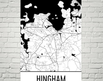 Hingham MA Map, Hingham Massachusetts Art, Hingham Print, Hingham Poster, Hingham Wall Art, Hingham Gifts, Map of Massachusetts, Decor