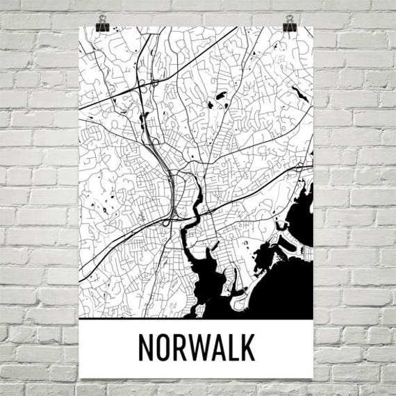 Norwalk Map Norwalk Art Norwalk Print Norwalk CT Poster | Etsy