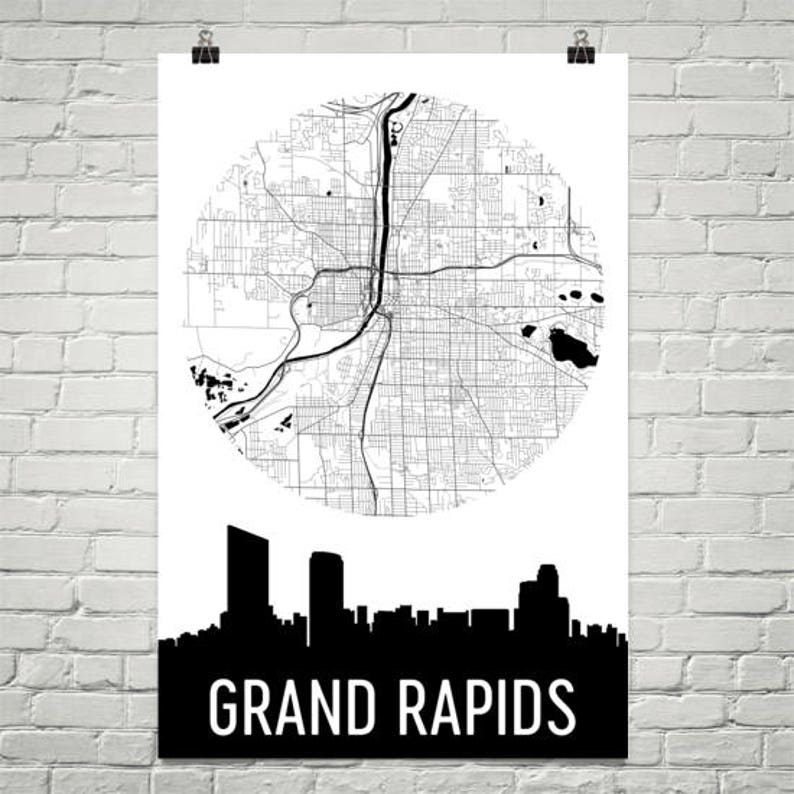 Grand Rapids Skyline, Grand Rapids Map, Grand Rapids Skyline Art, Grand  Rapids Canvas Art, Grand Rapids City Map, Grand Rapids MI, Michigan