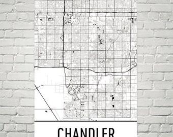 Chandler Map, Chandler Art, Chandler Print, Chandler Arizona Poster, Chandler Wall Art, Chandler Gift, Chandler Decor, Chandler Map Art