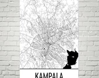 Kampala Map, Kampala Art, Kampala Print, Kampala Uganda Poster, Kampala Wall Art, Ugandan Gifts, Ugandan Decor, Uganda Map, Uganda Art