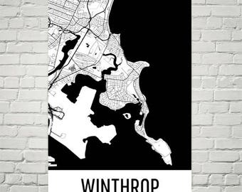 Winthrop MA Map, Winthrop Art, Winthrop Print, Winthrop Poster, Winthrop Wall Art, Winthrop Gift, Map of Massachusetts, Massachusetts Poster