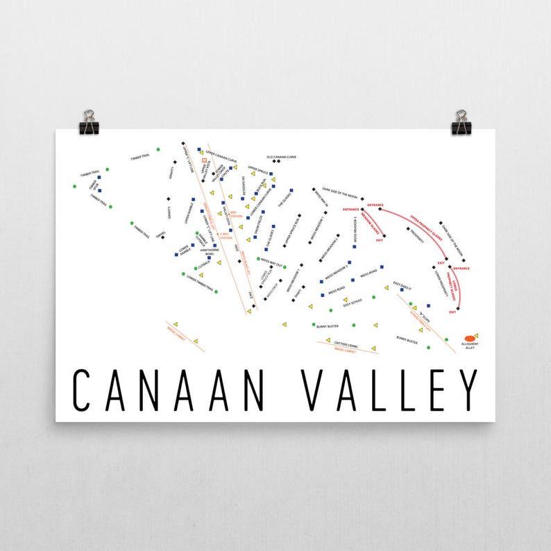Canaan Valley Ski Map Art Canaan Valley West Virgina Canaan | Etsy on