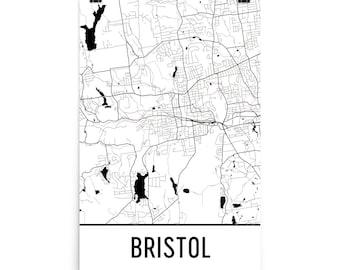 Bristol Map, Bristol Art, Bristol Print, Bristol CT Poster, Bristol Wall Art, Map of Bristol, Bristol Gift, Bristol Decor, Bristol Map Art