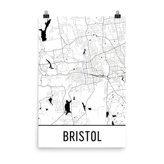 Bristol Map Bristol Art Bristol Print Bristol CT Poster | Etsy