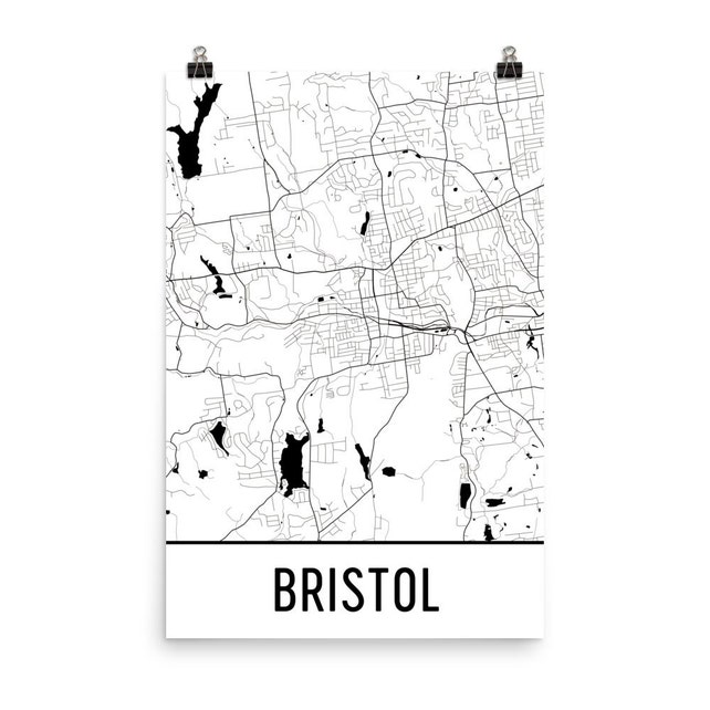 Bristol Map Bristol Art Bristol Print Bristol CT Poster   Etsy